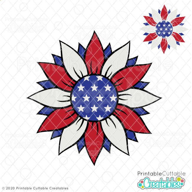 Patriotic Sunflower Free SVG File