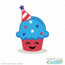 Patriotic Cupcake SVG File