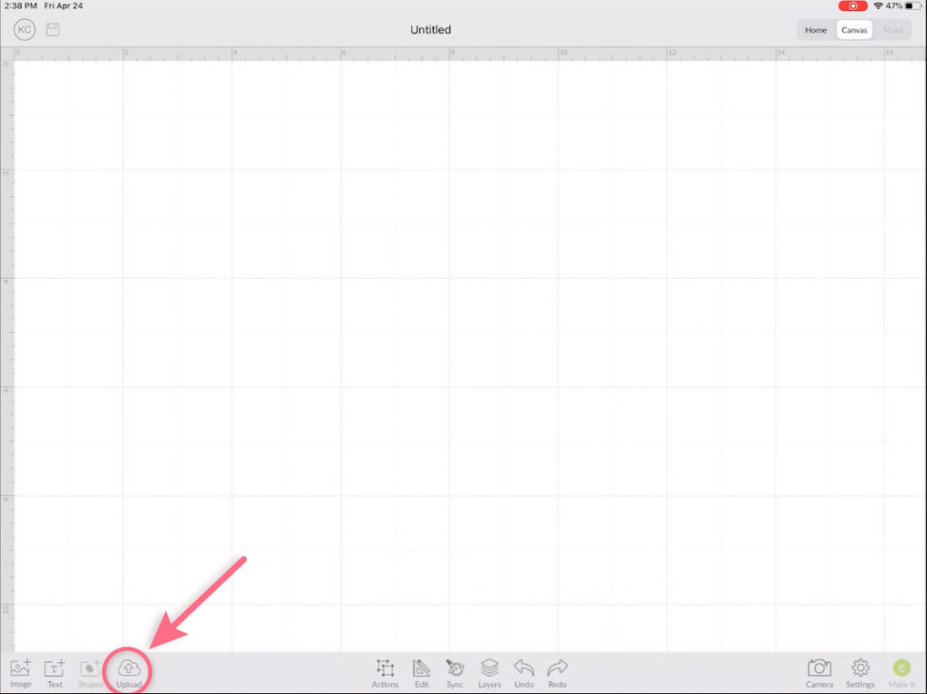 Cricut Design Space Click Upload Icon