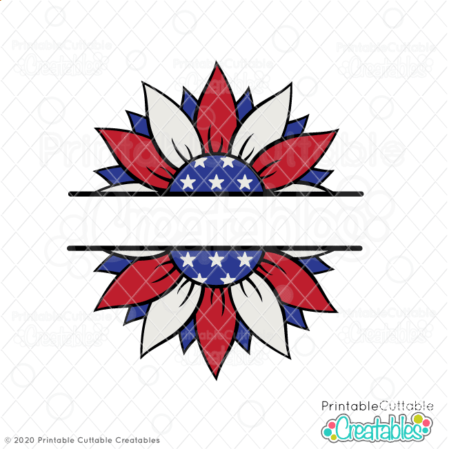Patriotic Flower Split Frame SVG Cut File