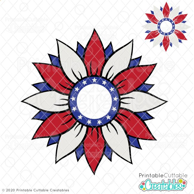 Patriotic Flower Monogram Frame SVG Cut File
