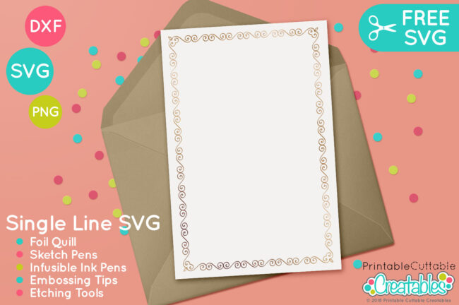 Single Line Swirls Frames Free SVG Project Idea for Cricut & Silhouette