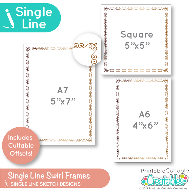 Single Line Swirls Frames Free SVG