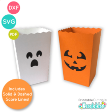 Halloween Popcorn Treat Box SVG File