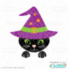 Halloween Cat in Witch Hat SVG File