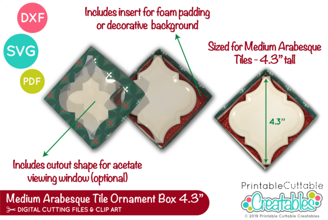 D052 Medium Arabesque Tile Ornament Box SVG File preview 2