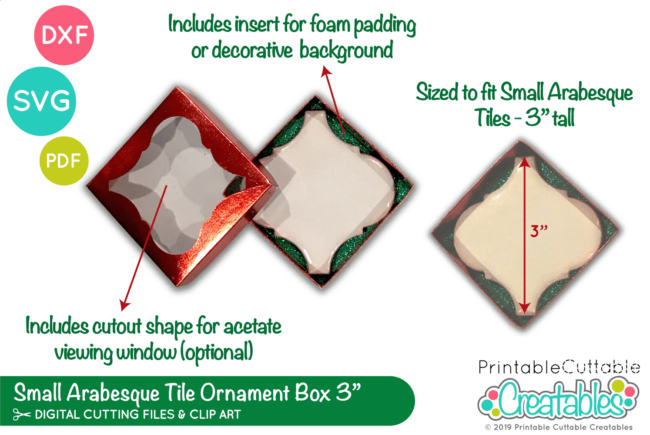 D053 Small Arabesque Tile Ornament Box SVG File preview 2