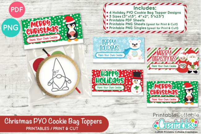 D054 Christmas PYO Cookie Bag Toppers Set Preview