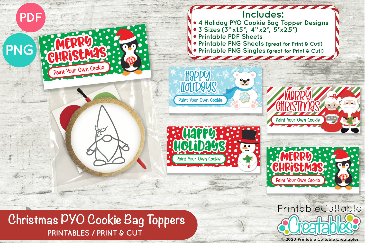 Printable Paint Your Own 2.5x2.5 Cookie Tag Instant Download