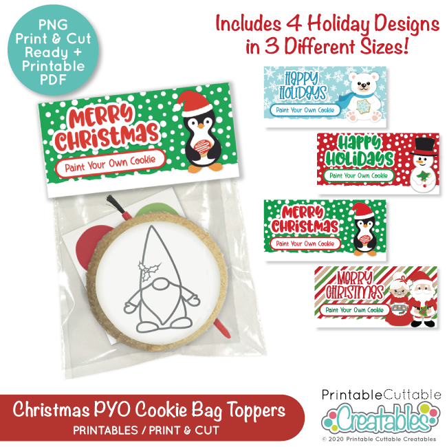 Printable Christmas Paint Your Own Cookie Bag Toppers