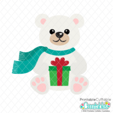Polar Bear Holding Gift SVG File