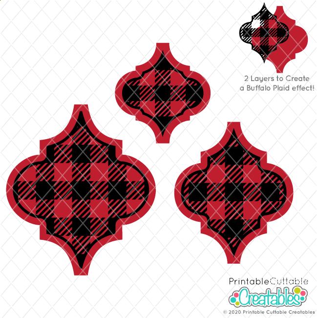 Buffalo Plaid Arabesque Tile Ornament FREE SVG File