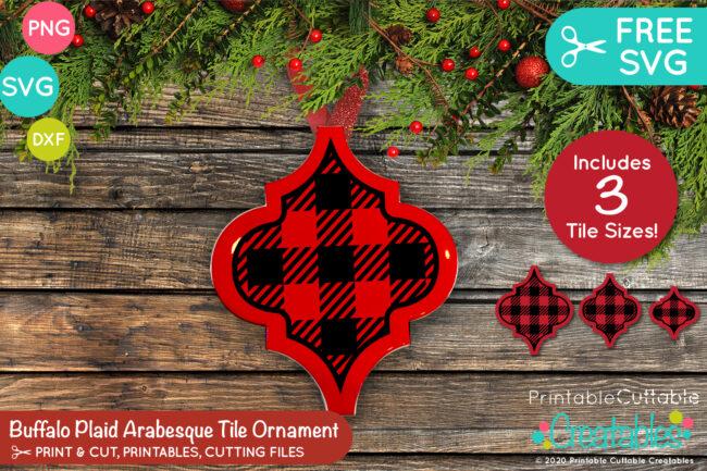 Buffalo Plaid Arabesque Tile Ornament FREE SVG Design