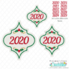 2020 Yearly Holly Arabesque Tile Ornament SVG File
