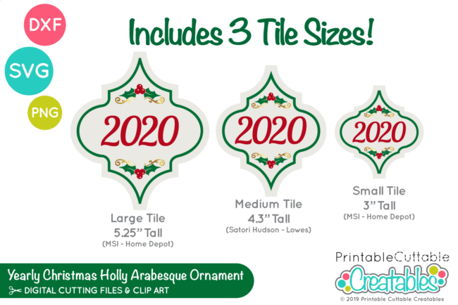 E570 Yearly Christmas Holly Arabesque Tile Ornaments SVG preview 2