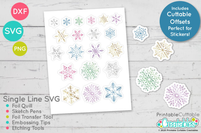 Single Line Snowflakes SVG for Foil Transfer Tool