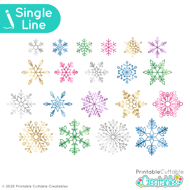 Single Line Snowflakes SVG for Foil Quill