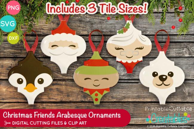 Christmas Friends Arabesque Tile Ornament SVG Files