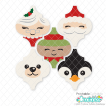 Christmas Friends Arabesque Tile Ornament SVG Bundle