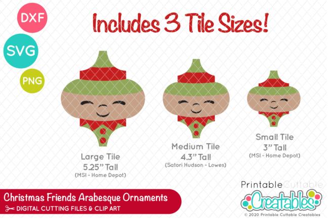 Christmas Friends Arabesque Tile Ornament SVG Designs