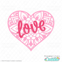 Love Heart Mandala Free SVG File
