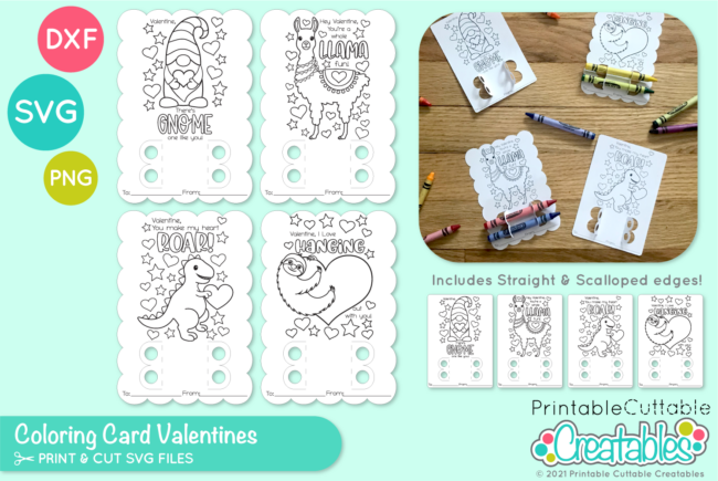 D060 Valentine Coloring Card SVG File preview 1