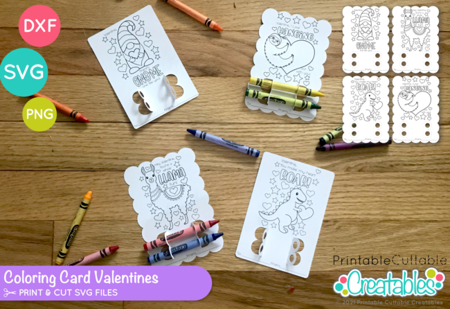 D060 Valentine Coloring Card SVG File preview 2