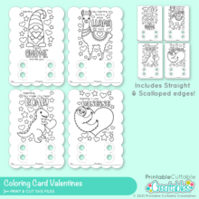 Valentine Coloring Card SVG Files