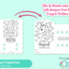Crayon Holder Coloring Card Valentine SVG Files for Cricut & Silhouette