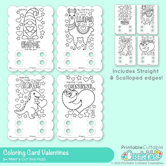 Valentine Coloring Card SVG Files