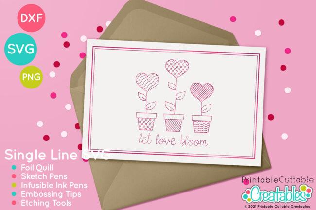 Single Line SVG Heart Love Bloom