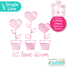 Single Line SVG File Heart Love Bloom