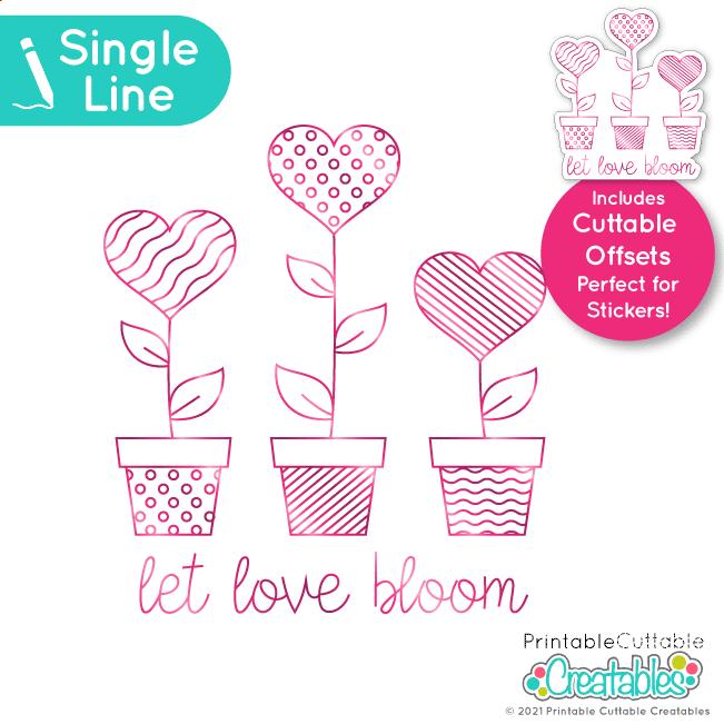 Single Line SVG File Heart Love Bloom