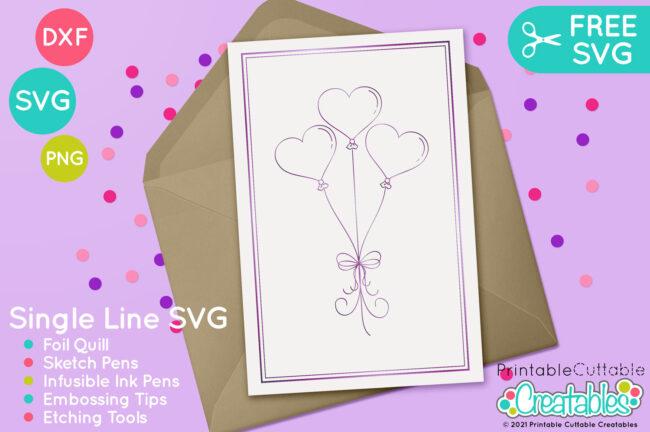 Single Line Free SVG Heart Balloons