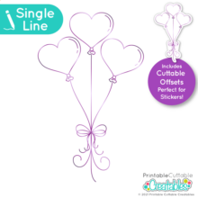 Single Line Free SVG Heart Balloons
