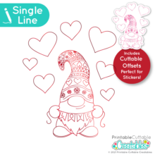 Single Line Love Banner Gnome SVG File