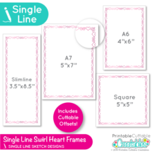 Swirl Heart Frames Single Line SVG Files