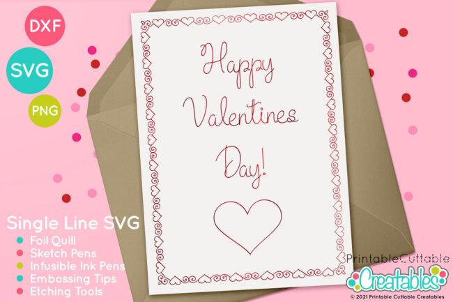 Swirl Heart Frames Single Line SVG Files