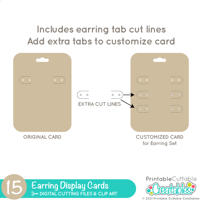 Earring Display Cards SVG File