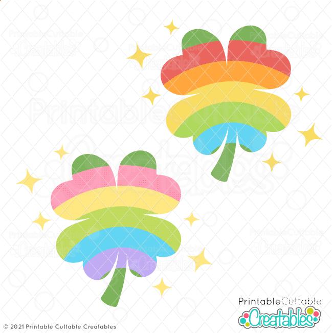 Rainbow Clover SVG Files