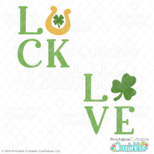 LUCK & LOVE Shamrock Free SVG File