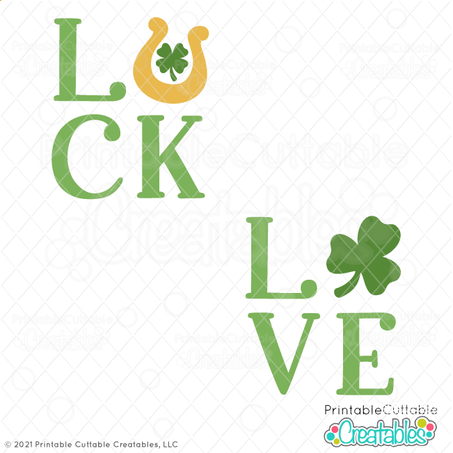 LUCK & LOVE Shamrock Free SVG File