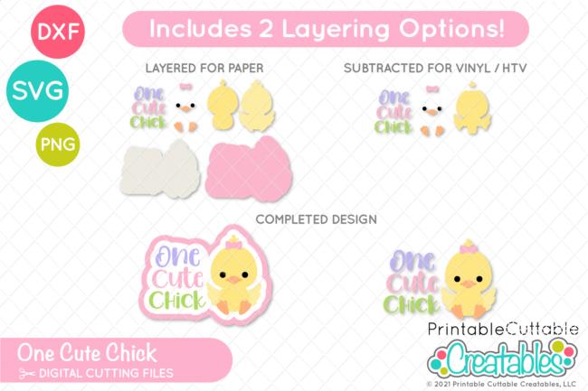 E594 One Cute Chick SVG File preview 2