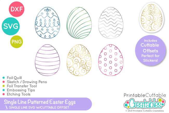 SK 026 Patterend Easter Eggs Single Line SVG Files preview 2