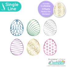 Patterned Easter Eggs Free Single Line SVG Files