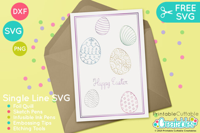 SK 026 Patterned Easter Eggs Single Line SVG Files preview 3