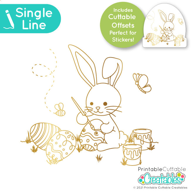 Bunny Painting Easter Eggs Single Line SVG File