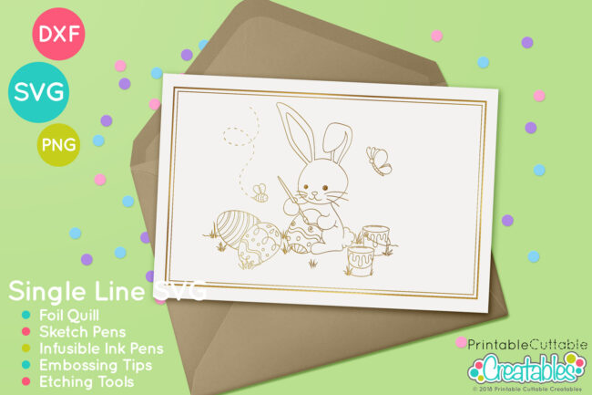 Easter Bunny Painting Eggs Foil Quill SVG Design