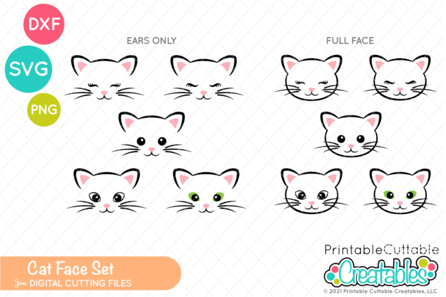 Cute Cat Face SVG Files Set