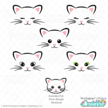 Cat Face SVG Files Set